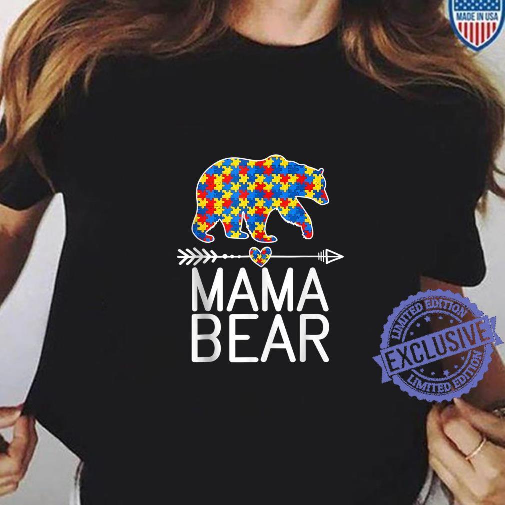 Autism Awareness Mama Bear Mom Shirt ladies tee