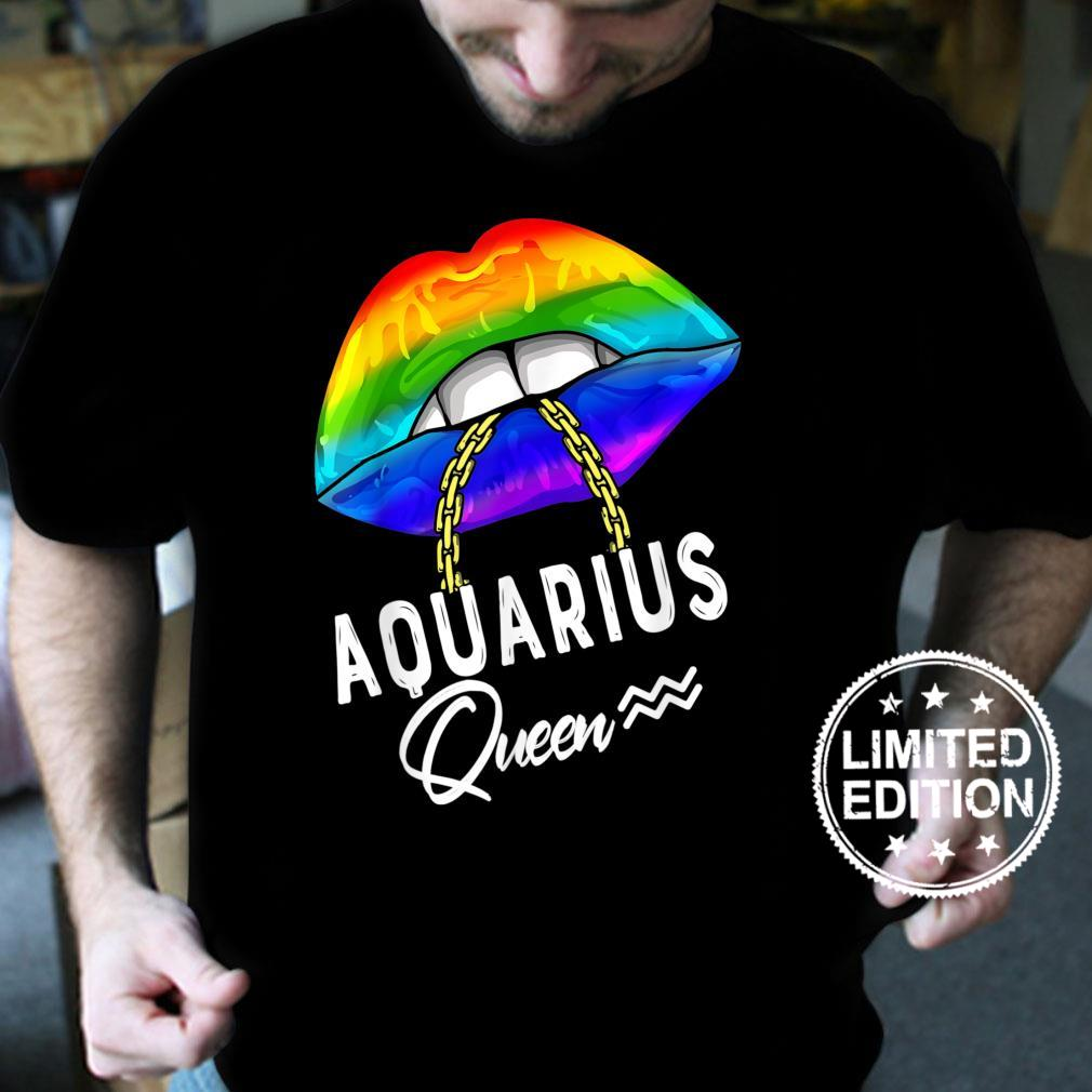 LGBTQ Aquarius Queen Lips Zodiac Rainbow Gay Pride Flag Shirt