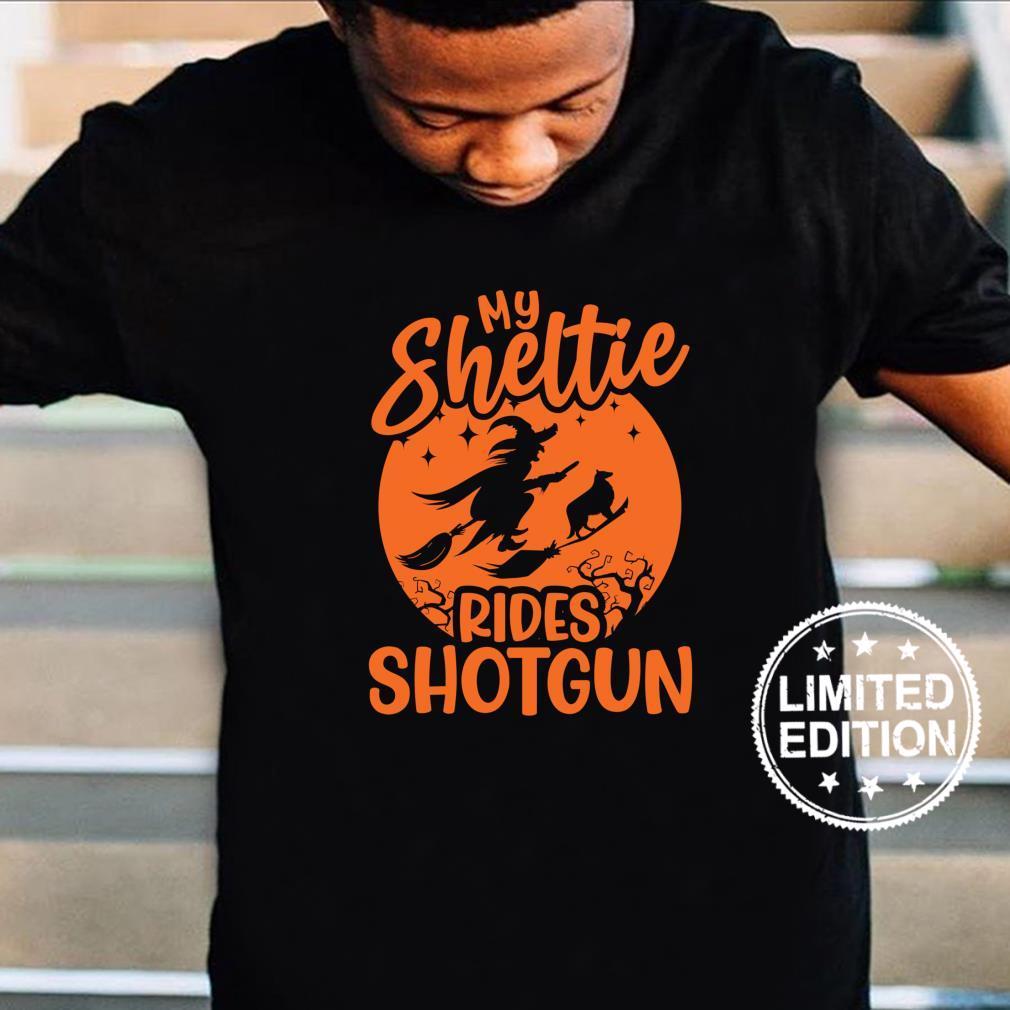 My Sheltie Rides Shotgun Shirt Witch Dog Mom Shirt